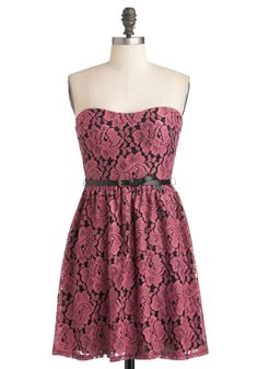 Cherish Is the Word Dress - Short, Pink, Black, Floral, Belted, Party, A-line, Strapless, Spring, Lace
