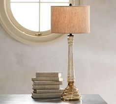 Alana Luster Glass Candlestick Table Lamp Base - Smoke