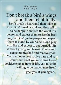 Don't break a bird's wings and then tell it to fly. Don't break a heart and then tell it to love. Don't brea a soul and then tell it to be happy.  Don't......