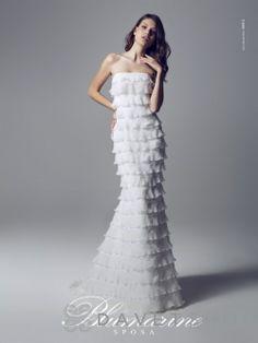 Blumarine Sposa - - Strapless Lace Chiffon Tiered Wedding Dress ((i kinda like this. Grecian Wedding, Wedding Dress Chiffon, Strapless Dress Formal, Lace Chiffon, Lace Wedding, Wedding Dresses 2014, Bridal Dresses, Wedding Gowns, Bridesmaid Dresses