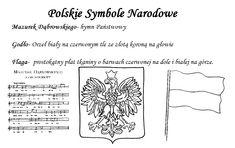 Symbole narodowe, kolorowanki edukacyjne, Godło, Flaga, kontur Polski, Hymn, edukacja, pliki do pobrania, karty pracy, przedszkole, szkoła.