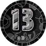 Black Glitz Age 13 Happy Birthday 6 Inch Badge Image