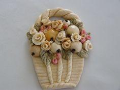 Virágkosár, Dekoráció, Otthon, lakberendezés, Mindenmás, Dísz, Meska Salt Dough, Dementia, Polymer Clay, Fimo, Modeling Dough