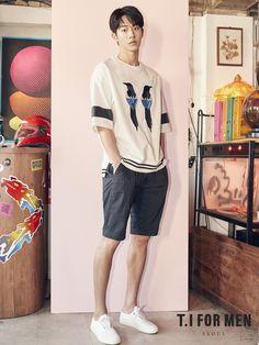 Nam Joo Hyuk was chosen as the model for T. For Men, showing pieces of their 2017 S/S Collection. Korean Star, Korean Men, Asian Actors, Korean Actors, Nam Joo Hyuk Cute, Korean Summer Outfits, Jong Hyuk, Kim Book, Nam Joohyuk