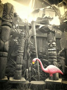 Tiki's in the garden--like the height; don't know about the flamingo though...