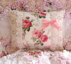 Pink floral bedding. Very feminine.