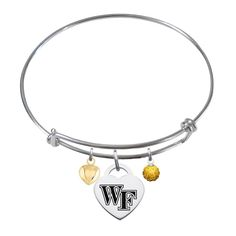 Wake Forest Demon Deacons Sterling Silver Adjustable Bangle Bracelet with Heart Charm * Remarkable jewelry available now. : trend jewelry 2016