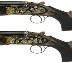Pair of SO10EELL O/U shotguns. Games scenes are refined with colour enamel applications and gold inlays.