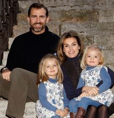 Crown Prince Felipe and Crown Princess Letizia of Spain with their daughters, the Infantas Leonor and Sofia.  Leonor will one day be the queen of Spain in her own right.