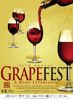 GrapeFest - Texas Wine Festival - Downtown Grapevine - Sept 13 to 2012 *Carnival Rides *Vendors *Savory Foods *People's Choice Wine Tasting from over 130 Different Wines *Lots of Family Fun Hope to see you there! Belly Dancing Classes, Different Wines, Carnival Rides, Dr Pepper, Wine Festival, Wine Tasting, Grape Vines, Red Wine, Wine Glass