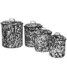 Enamelware 4 Piece Canister Set - Black Marble