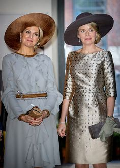 (L-R) Queen Maxima of the Netherlands and Queen Mathilde of Belgium during their visit to the Flemish culture house Bakke Grond on November 28, 2016 in Amsterdam, Netherlands.