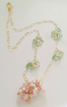 Jewerly. Fine jewerly. Victorian jewerly. Pink Cluster Necklace Pink Opal NecklaceGreen by SebastiandelaGoya, $243.00