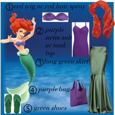 diy ariel costume - Google Search. Maybe a purple shirt, green shorts with some sparkle