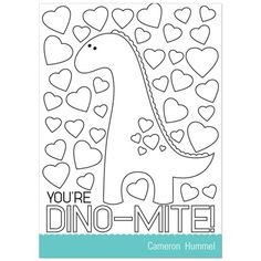 Deliver a dino-mite valentine with these fun-to-color Valentine's Day cards for kids! Your child's friends and classmates get to color the front design, and you get a unique greeting at an affordable price - a win-win!