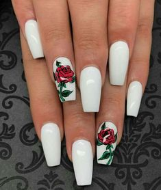 Flowers do not always open, but the beautiful Floral nail art is available all year round. Choose your favorite Best Floral Nail art Designs 2018 here! We offer Best Floral Nail art Designs 2018 .If you're a Floral Nail art Design lover , join us now ! White Acrylic Nails, Best Acrylic Nails, Acrylic Nail Designs, Nail Art Designs, Nails Design, Matte Nails, White Acrylics, White Nail Art, Bio Gel Nails