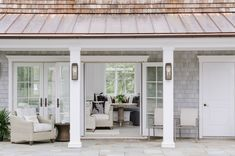Who else is ready for warmer weather? With French doors, creamy neutrals, and bold accents, this pool house looks like the perfect place… Pool House Bathroom, Pool House Decor, Pool House Interiors, Pool House Designs, Backyard Designs, Pool House Plans, Pool Cabana, Florida, Pool Houses
