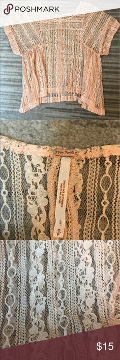 Free people peach lace top Free people size small. Super cute peach lace top. No flaws smoke free home. Free People Tops