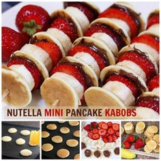 Nutella Mini Pancake Kabobs Great healthy breakfast idea the kids will love. Ma… Nutella Mini Pancake Kabobs Great healthy breakfast idea the kids will love. Maybe use peanut butter instead of Nutella…