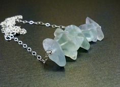 Rough stones necklace - natural raw gemstones, green fluorite and 925 sterling silver chain, handmade artisan jewellery, fall fashion. $38.00, via Etsy.