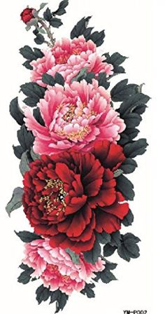 GGSELL Dernières vente chaude et un design branché et coloré Belle faux température autocollant tatouage rose et fleurs de pivoine rouge:…