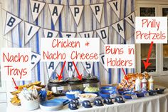 Yankees baseball theme 1st birthday party ballpark foods (Happily Island After)