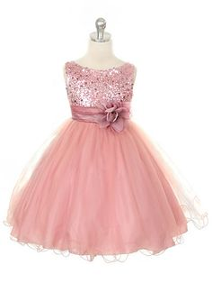 66315cba5df Dusty Rose Sequined Bodice w  Double Layered Mesh Dress