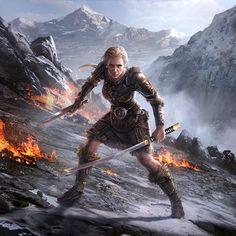 f Ranger Medium Armor Longsword Shortsword female Mountain battle trail med