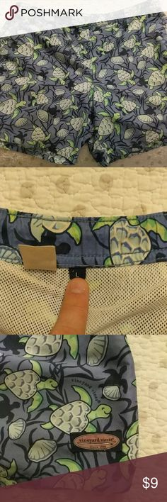 Swim trunks from Vineyard Vines Size large swim trunks from Vineyard Vines. Groovy turtle pattern to get you in the mood to swim. Vineyard Vines Swim Swim Trunks