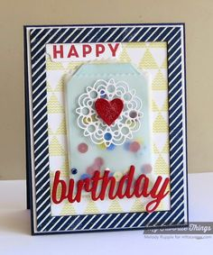 Diagonal Stripes Background, Happy Everything, Patterned Triangles Background, Delicate Doilies Die-namics, Heart STAX Die-namics, Mini Tabs Foursome Die-namics, Rectangle Frames Die-namics, Treat Pocket Die-amics - Melody Rupple #mftstamps