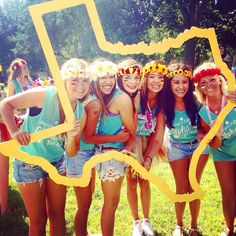 We love Alpha Gamma Delta at Tarleton's state shaped photo prop for bid day!