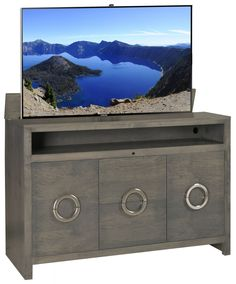 Our Newest Tv Lift Cabinet Enclave Gray Pop Up Contemporary