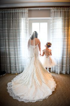 Bride and her flower girl before the ceremony