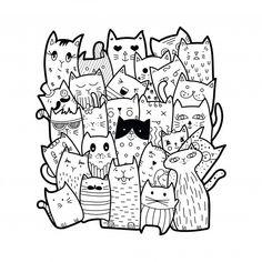 Cute Doodle Art, Doodle Art Drawing, Cat Drawing, Doodle Coloring, Coloring Books, Coloring Pages, Gato Doodle, Doodle Doodle, Doodles Kawaii
