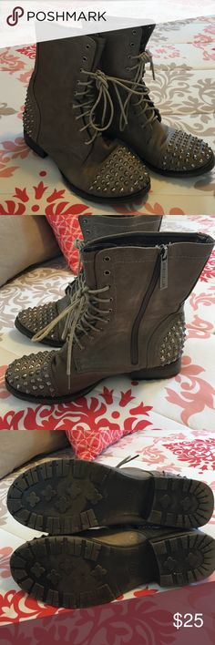 Women's Brown Spiked Combat Boot Size 8 Women's Brown Studded Combat Boot Breckelles Shoes Combat & Moto Boots