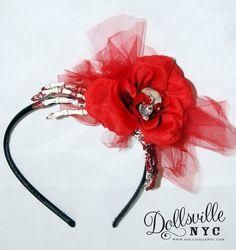 Skeleton Hand, Red Rose, Sugar Skull and Tulle Headband, Halloween, Psychobilly Punk Rock. $22.00, via Etsy.