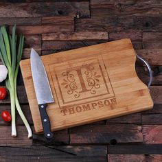 """This handy robust chopping board makes an excellent wedding gift, mother or father's day gift. 9.5″ x 13.5″ x 1″, Natural Wood During checkout, click on """"Add a note to your order"""" for any additional i"""
