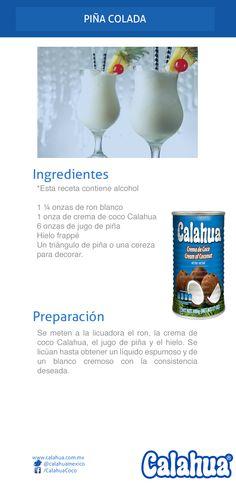 Prepara la clásica piña colada, hecha con crema de coco #Calahua Bar Drinks, Wine Drinks, Cocktail Drinks, Yummy Drinks, Cold Drinks, Cocktail Recipes, Alcoholic Drinks, Alcohol Drink Recipes, Smoothie Drinks