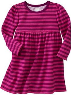 Jersey Long-Sleeve Dresses for Baby @Donna Maywald Navy you should totally put pockets on these. toddlers/preschoolers love the pockets man