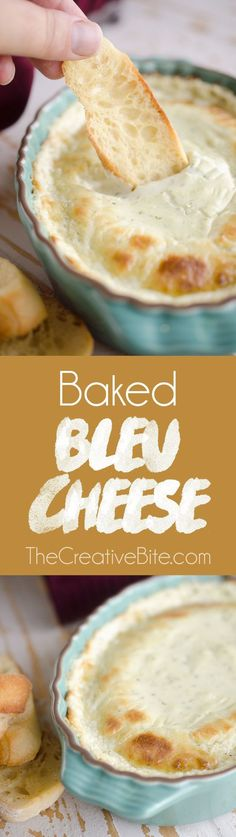 Baked Bleu Cheese - An easy and amazingly flavorful appetizer that is the perfect dip for the big game or a fantastic way to start out an elegant dinner. #Appetizer #BleuCheese #Dip