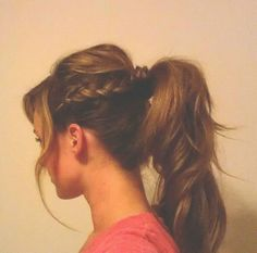 bump with cute side braide nto a ponytail