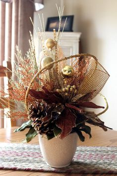 Christmas Centerpiece Glittery Gold & Bronze by FloralsFromHome, $165.00