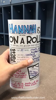 "This ""About Me Roll-Up"" back to school activity is perfect for the first week of school! Students fill out the front and back get-to-know-you sections, cut out the peek-through windows, and then roll their paper and glue the edges, forming a stand up tube. Classmates and visitors can then see all the fun info by turning the roll-up around AND peeking through the windows! (The Thinker Builder)"