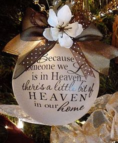 """Because someone we love is in Heaven"" ornament. Had to search to find original designer of this ornament. It appears letters can be ordered from her. See new link above. I hope this is correct."