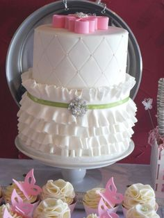 Frilly little Baptism Cake — First Communion