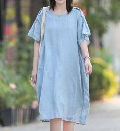 sky blue loose dress, linen midi dress, summer dresses, prom dress, With pockets linen dress, minimalist linen dress