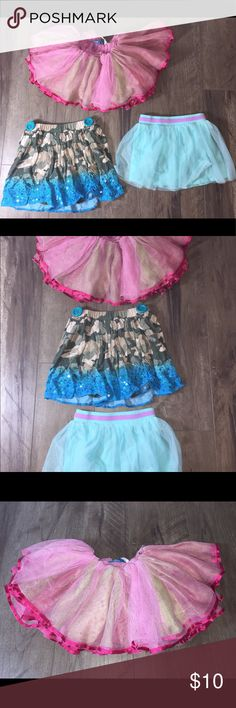 3 Playfull skirts/skorts Size 5T Justice, 365Kids, Here are 3 used fun skirts size 5t. No stains great Condition. Justice brand, 365 Kids Brand, & 365 Kids Brand. 2 have shorts underneath Bottoms Skirts