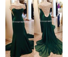 Long Prom Dress, Green Prom Dress