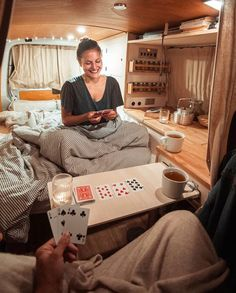 Playing cards and drinking some warm tea. For us it's such a nice way to end the… Playing cards and drinking some warm tea. For us it's such a nice way to end the evening. Especially in a small space you can make it… - Creative Vans Diy Camper, Camper Life, Camper Van, Happier Camper, Pickup Camper, Kombi Home, Van Interior, T4 Camper Interior Ideas, Volkswagen Bus Interior