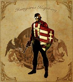 Captain Hungary, color sketch by tikos on DeviantArt Hungarian Tattoo, Folk Fashion, Character Development, Coat Of Arms, Funny Images, Vintage Posters, Budapest, Avengers, Darth Vader